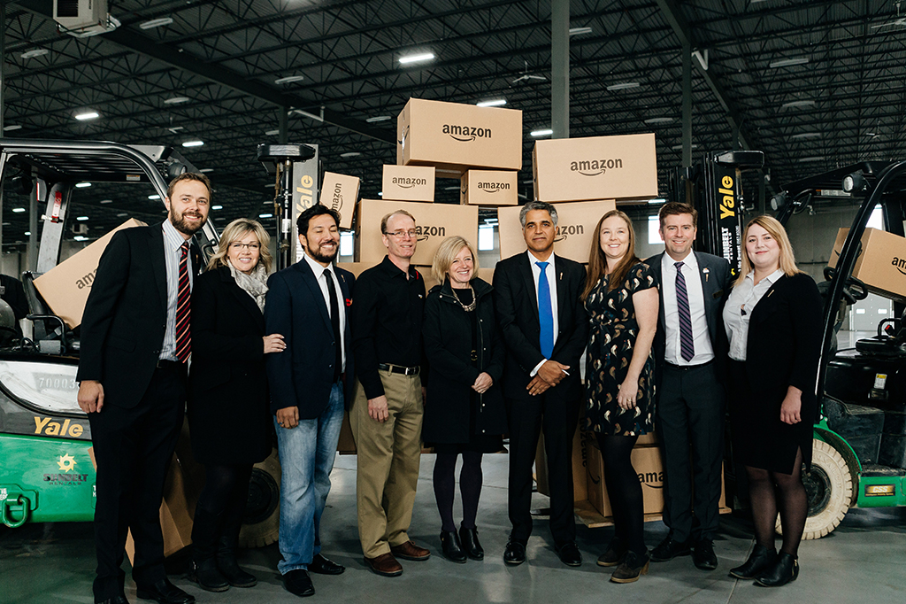 Amazon event with forklifts and amazon boxes