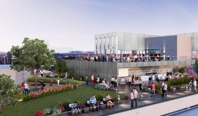 Exterior rendering of The Post rooftop amenity