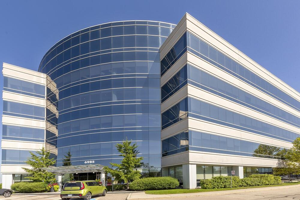 Building exterior of 6985 Financial Drive, Mississauga, ON