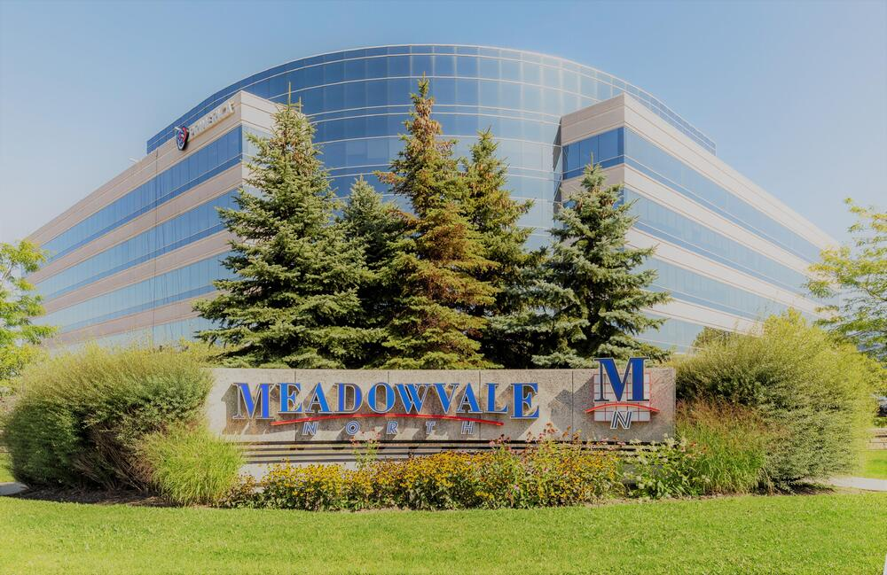 Building exterior and signage of Meadowvale Corporate Centre, Mississauga, ON