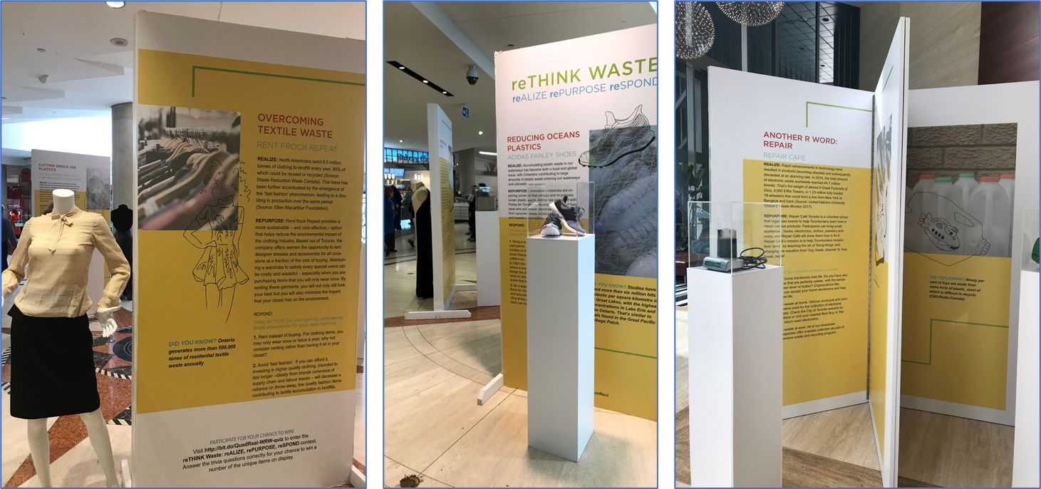 Photos of waste reduction display